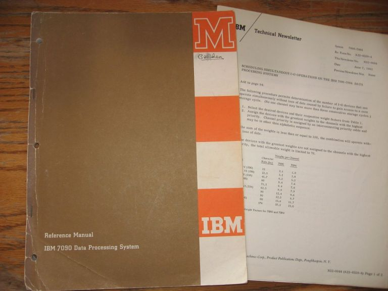 IBM 7090 Data Processing System Reference Manual, August 1961; PLUS, 8 pages of IBM Technical Newsletter 1962 pertaining to corrections, additions etc. for the 7090. IBM.