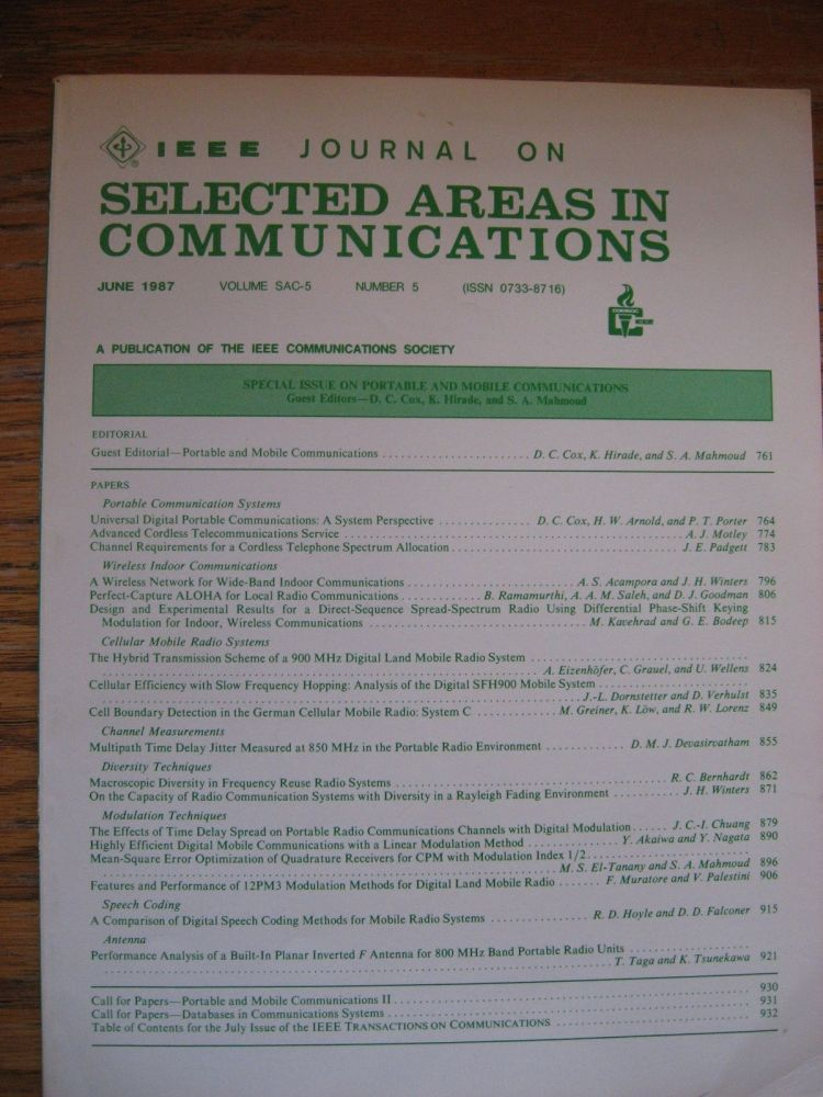 Special Issue on Portable and Mobile Communications, June 1987, Vol. SAC-5, number 5. June 1987 IEEE Journal on Selected Areas in Communications.