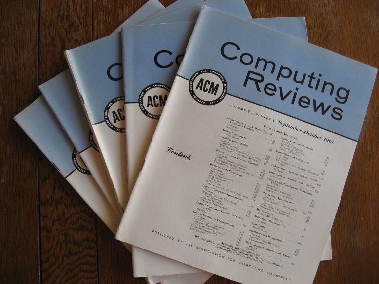 Computing Reviews 1961, volume 2 numbers 1 through 5 (individual issues, January through October inclusive). ACM.