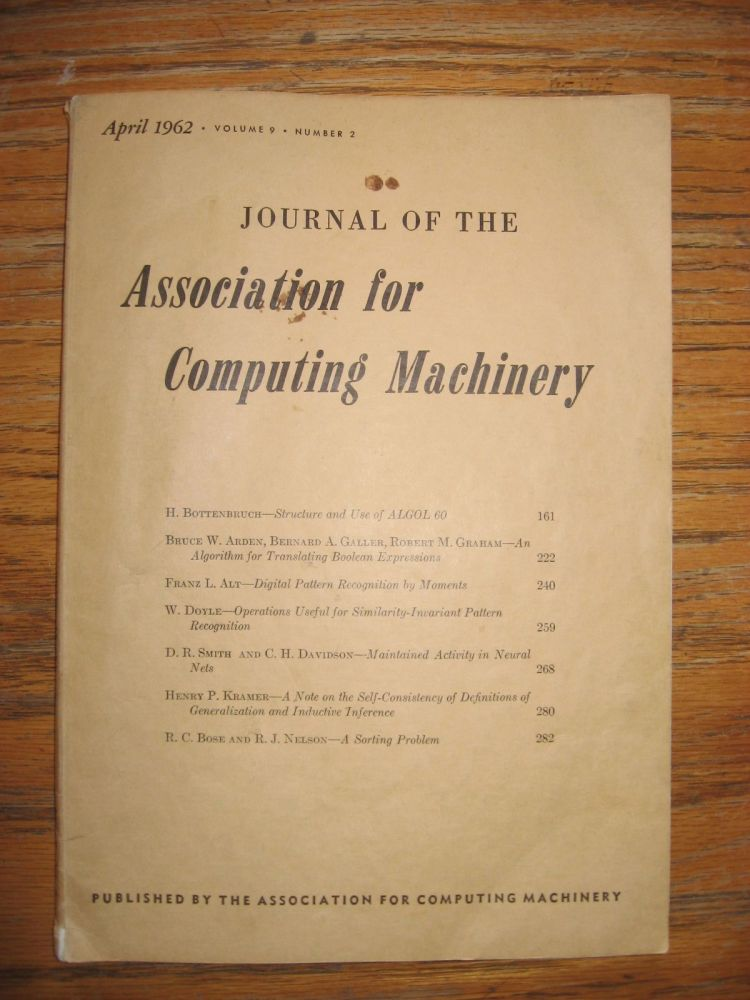 Journal of the Association for Computing Machinery, April 1962 (volume 9, number 2) single individual issue. JACM.