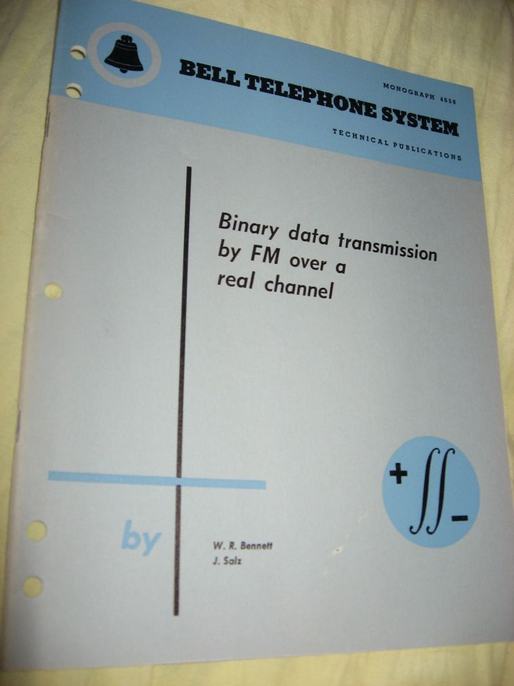Binary Data Transmission by FM over a Real Channel, Bell Telephone System technical publications, Monograph 4658. W. R. Bennett, J Salz.