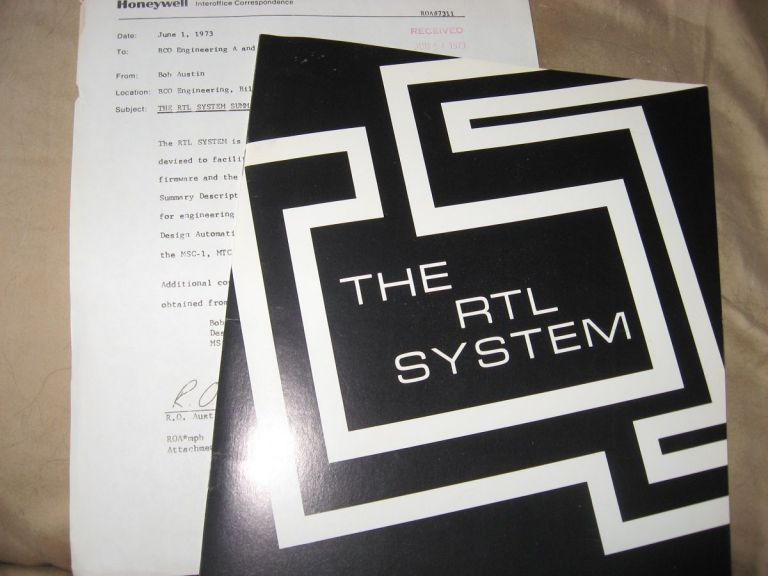 The RTL System -- sales brochures, Honeywell 1973, with laid-in inter-office correspondence. Honeywell.
