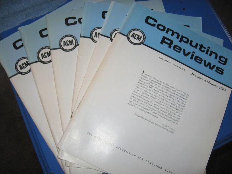 Computing Reviews, full year 1964, 6 individual issues; volume 5, numbers 1 through 6 inclusive. Assoc. for Computing Machinery.