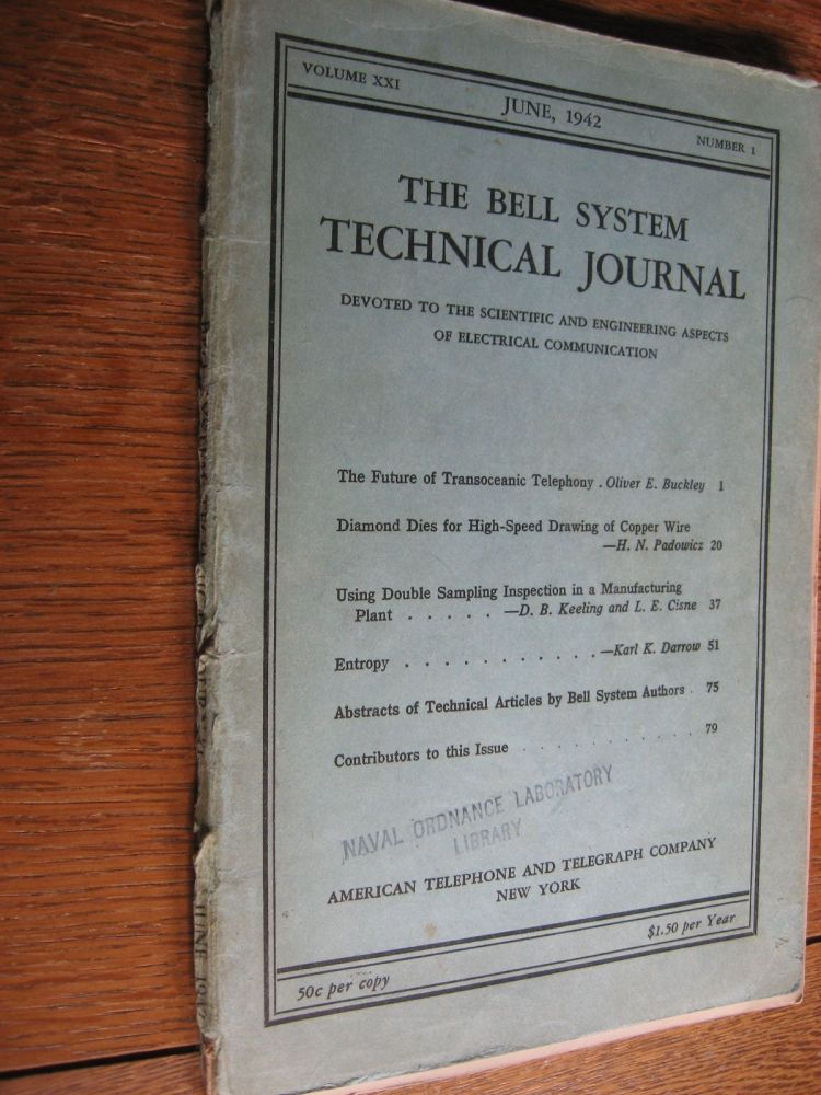 Bell System Technical Journal volume XXI no. 1 June 1942 , complete separate issue. Bell System Technical Journal volume XXI no. 1 June 1942 / vol 21.