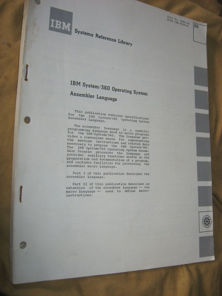 IBM System/360 Operating System Assembler Language (manual, 1964, major revision 1966). IBM Systems Reference Library.