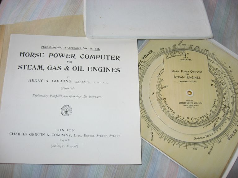 Horse Power Computer for Steam, Gas & Oil Engines, explanatory booklet plus cardboard computer in original box. Henry A. Golding.