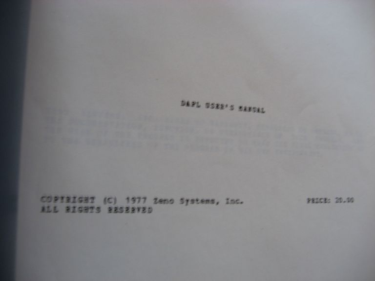 DAPL User's Manual, 1977, microprogramming for the AMD 2900, the Fairchild 9400 Macrologic, and the Motorola 10800 4-bit microprocessors. Zeno Systems.