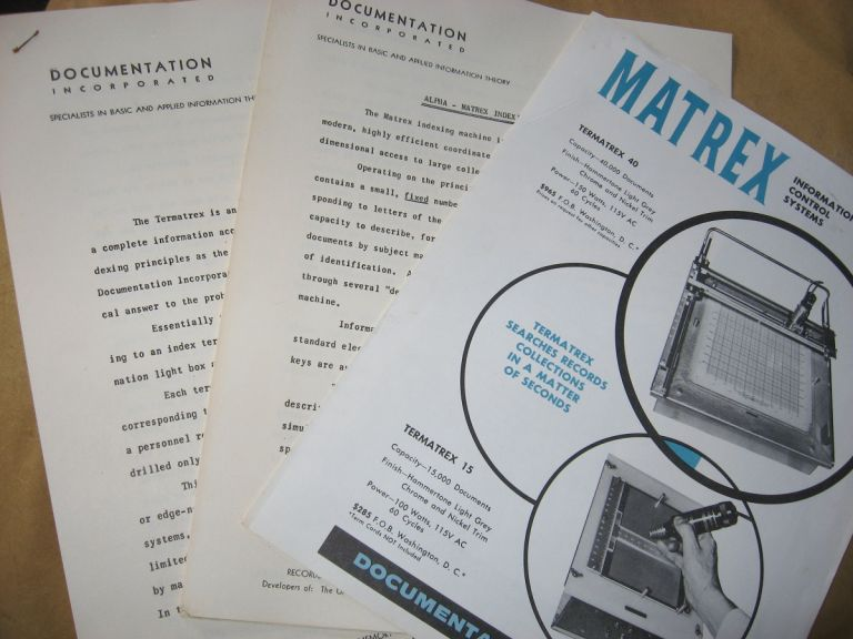 3 items -- Matrex Tematrex 40 and Termatrex 15, sales brochure, Specifications sheets, Alpha Matrex Indexing Machine. Documentation Incorporated.