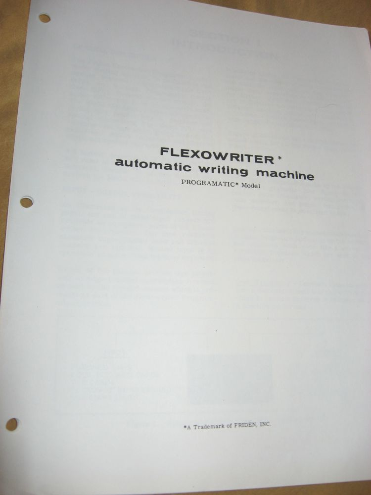 Flexowriter automatic writing machine Programatic Model, manual with specifications, operating features etc. Inc Friden.