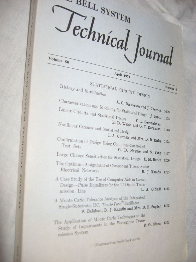 The Bell System Technical Journal, volume 50 no. 4, April 1971. var The Bell System Technical Journal.