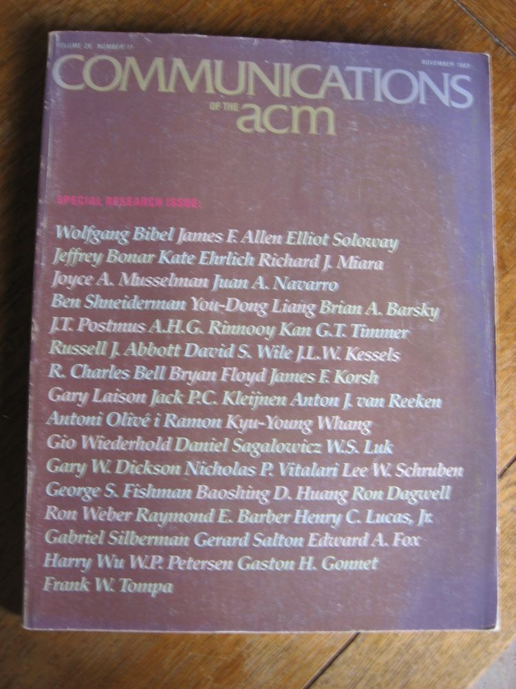 Communications of the ACM, Special Research Issue, November 1983; volume 26 number 11. ACM var. contributors.