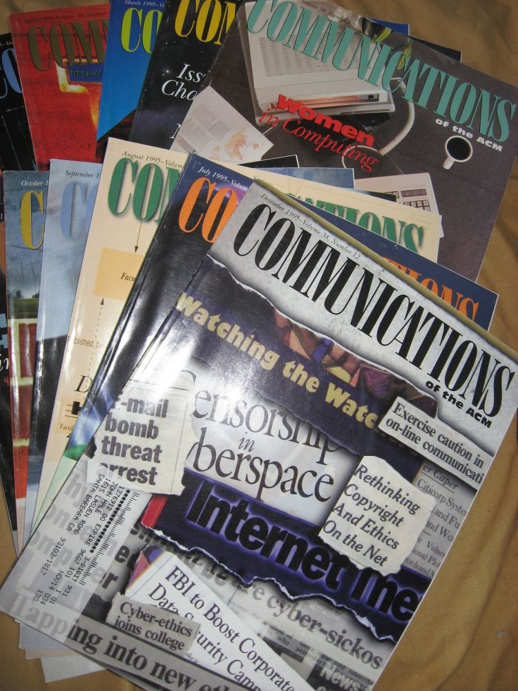 Communications of the ACM 1995, full year, 12 individual issues; volume 38 numbers 1 through 12 inclusive. ACM.