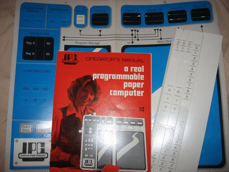 Instructo Paper Computer, IPC, Operator's Manual plus cut-outs, A Real Programmable Paper Computer 1979. Fred Matt.