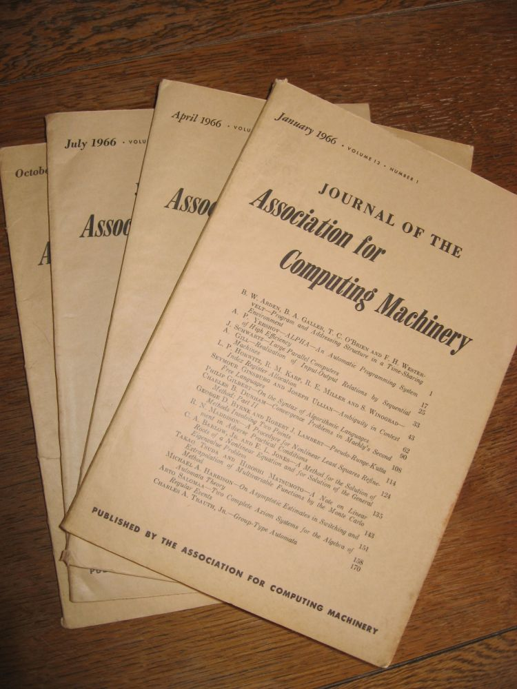 Journal of the Association for Computing Machinery, 4 individual issues, January 1966, April 1966, July 1966, October 1966; whole volume 13, numbers 1 through 4. ACM.