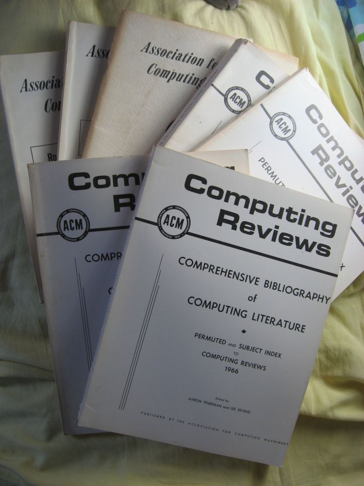 7 volumes of ACM incl. 2 Comprehensive Bibliography of Computing Literature; 2 Permuted (Kwic) Index to Computing Reviews; and 3 Roster of Members. Association for Computing Machinery, var.