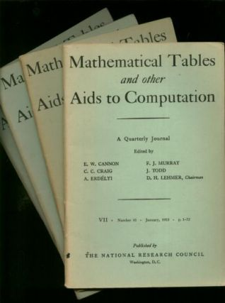 Mathematical Tables and other Aids to Computation, complete year 1953 individual issues; Vol. VII, number 41, January 1953; April 1953; July 1953; October 1953