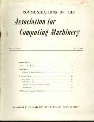 Communications of the Association for Computing Machinery, volume 2, no. 1, January 1959. ACM...