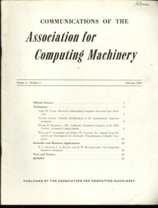 Communications of the ACM volume 2, number 2, February 1959. Association for Computing Machinery.