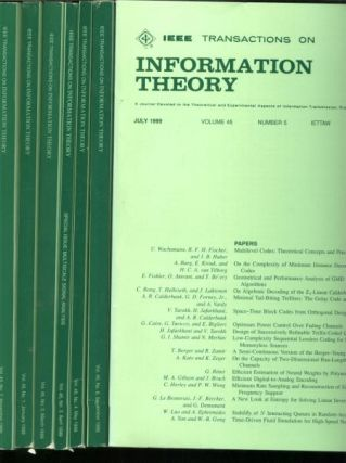 Transactions on Information Theory; 7 issues complete year 1999, individual issues; volume 45,...