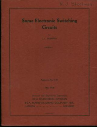Some Electronic Switching Circuits, May 1938, offprint, RCA Radiotron Division, publication No....