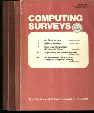 ACM Computing Surveys volume 1, no. 1 through no. 4, 1969 complete year, 4 individual issues; March 1969, June 1969, September 1969, December 1969