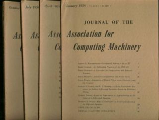 Journal of the Association for Computing Machinery, 1956 complete year, 4 individual issues; January, April, July, October 1956, volume 3 numbers 1, 2, 3, 4. Assoc. for Computing Machinery, ACM.