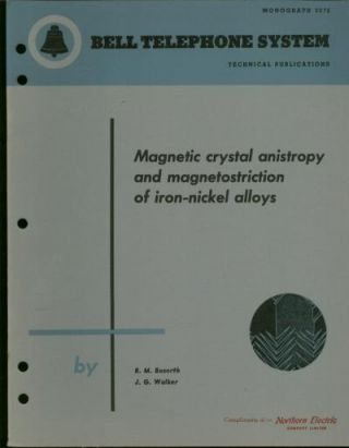 Magnetic Crystal Anistropy and Magnetostriction of iron-nickel Alloys; Bell Telephone system monograph 2076, technical publications. R. M. Bozorth, JG Walker.
