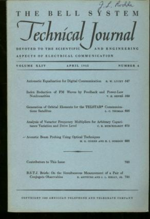 The Bell System Technical Journal vol XLIV, number 4, April 1965. number 4 The Bell System Technical Journal vol XLIV, April 1965.