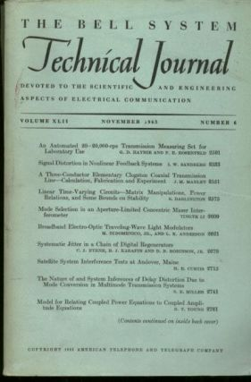 The Bell System Technical Journal vol XLII no. 6, November 1963. November 1963 The Bell System...