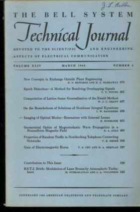 The Bell System Technical Journal volume XLIV no. 3, March 1965, single issue. March 1965 The...