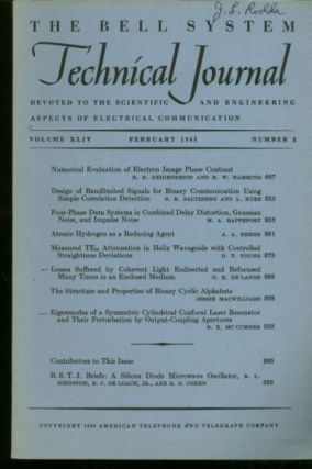 The Bell System Technical Journal, Volume XLIV no. 2, February 1965. Volume XLIV no. 2 The Bell...