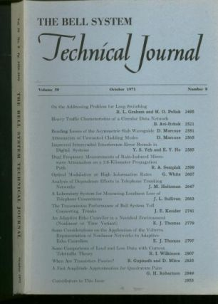 The Bell System Technical Journal, volume 50 no. 8, October 1971. The Bell System Technical Journal