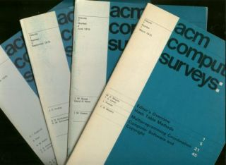 ACM Computing Surveys volume 7 numbers 1 through 4, 1975, four individual issues, complete year....
