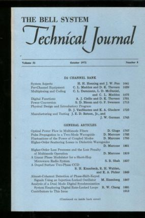 The Bell System Technical Journal volume 51, number 8, October 1972. The Bell System Technical...