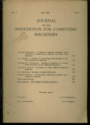 Journal of the Association for Computing Machinery, volume 1 no. 3, July 1954. FJ Alt, JW...