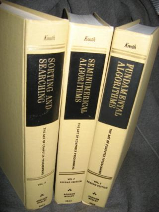 THE ART OF COMPUTER PROGRAMMING hardcover, 3 volumes. Donald E. Knuth.