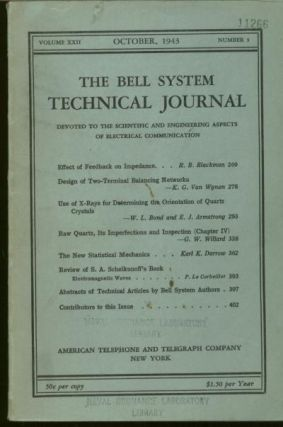 The Bell System Technical Journal volume XXII, number 3, October 1943. The Bell System Technical...