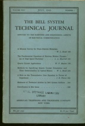 The Bell System Technical Journal volume XXII number 2, July 1943. The Bell System Technical Journal