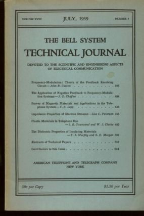 The Bell System Technical Journal volume XVIII number 3, July 1939. The Bell System Technical Journal.
