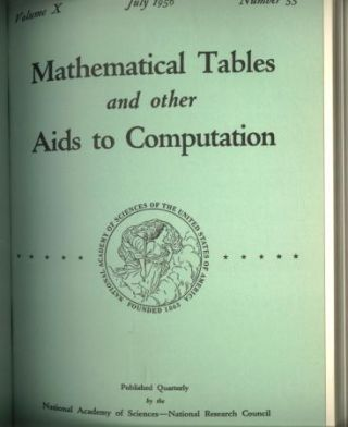 Mathematical Tables and Other Aids to Computation 1956, complete year, bound; volume 10 nos. 53,...
