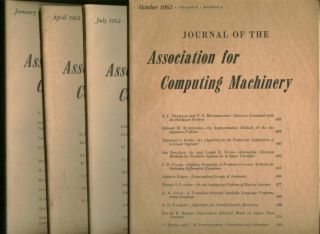 Journal of the Association for Computing Machinery, 4 issues complete year 1962, volume 9 nos. 1...