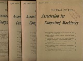 Journal of the Assocation for Computing Machinery, 1960 volume 7 nos. 1 through 4, full year...