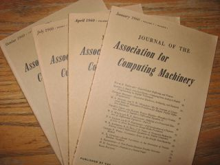 Journal of the Assocation for Computing Machinery, 1960 volume 7 nos. 1 through 4, full year individual issues