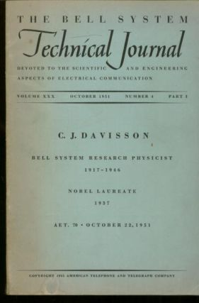 The Bell System Technical Journal volume XXX October 1951 number 4, part 1. The Bell System Technical Journal.
