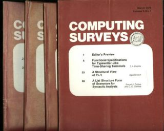 Computing Surveys, volume 2 nos. 1 - 4, complete year 1970, 4 individual issues; includes, Von Neumann's First Computer Program by Donald Knuth. Knuth, Denning.
