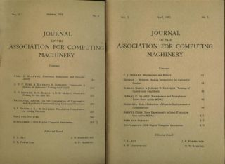 2 issues, Journal of the Association for Computing Machinery vol. 2, no. 2, April 1955; and vol 2...