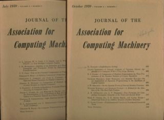 3 issues, Journal of the Association for Computing Machinery, volume 6 no. 2 April 1959; no. 3 July 1959; and vol 6 no. 4, October 1959. JACM.