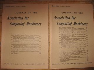 3 issues, Journal of the Association for Computing Machinery, volume 6 no. 2 April 1959; no. 3 July 1959; and vol 6 no. 4, October 1959
