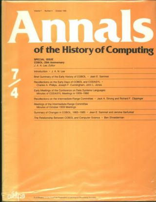 Annals of the History of Computing, volume 7 number 4, October 1985; Special issue COBOL 25th anniversary. AFIPS, J. A. N. Lee.