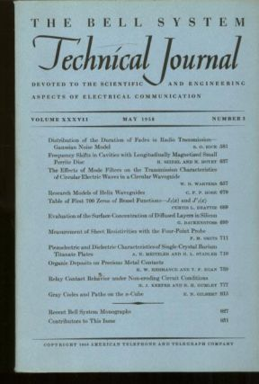 Bell System Technical Journal volume XXXVII Number 3 May 1958 ; vol 37 no 3. AT&T